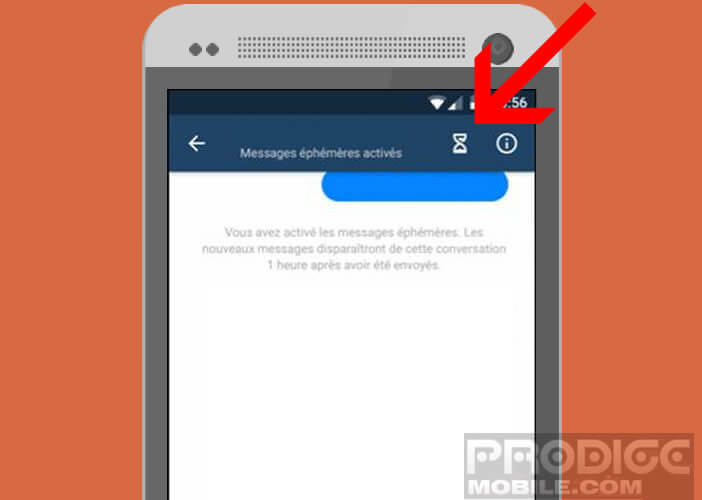 Cliquez sur le sablier pour activer l'autodestruction automatique de vos messages