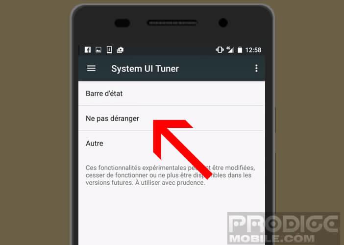 Activer l'option ne pas déranger dans System UI Tuner