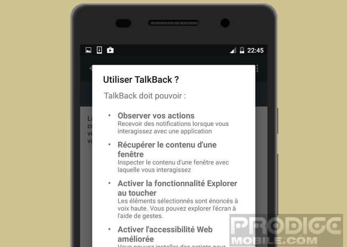 TalkBack permet d'utiliser les commentaires vocaux
