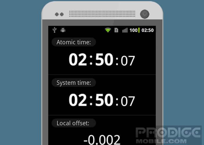 ClockSync affiche l'heure exacte provenant d'une horloge atomique