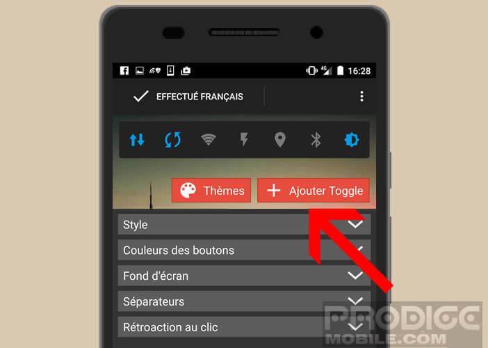 Ajouter un Toogle dans la barre de votre widget