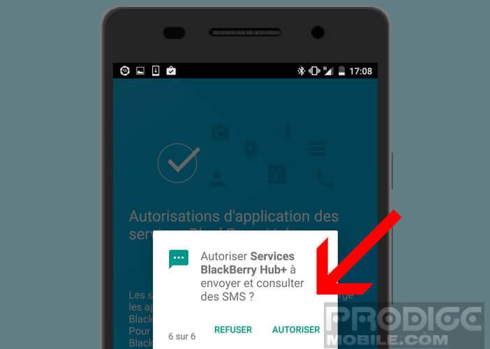 Autoriser Blackberry Hub à accéder à vos SMS