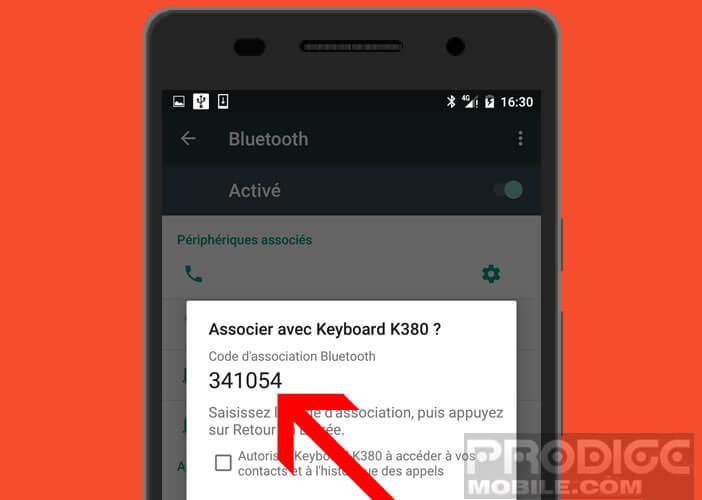 Saisir le code jumelage pour connecter son clavier Bluetooth