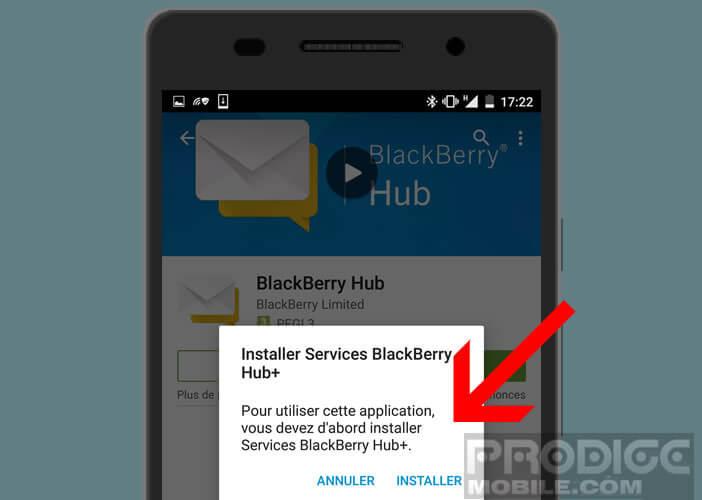 Installer l'application Blackberry Hub +
