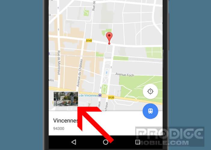 Lancer la fonction Street View sur l'application de cartographie de Google