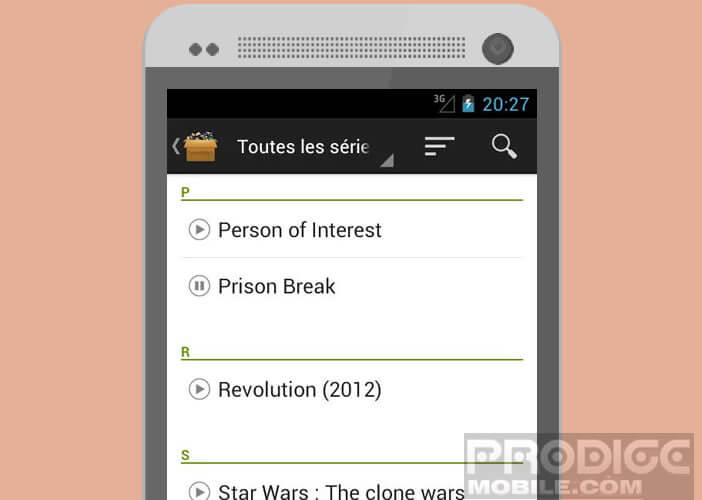 Liste des fictions télés disponible dans l'application SeriesAddict