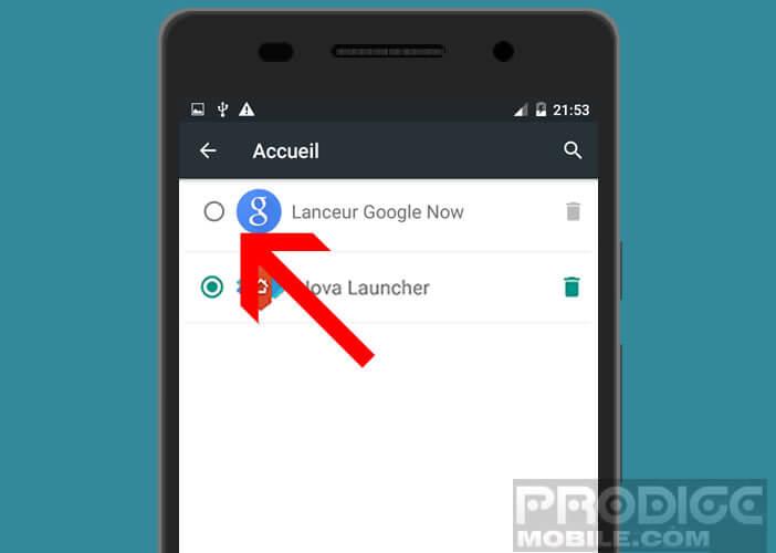 La liste des launchers installés sur votre mobile Android