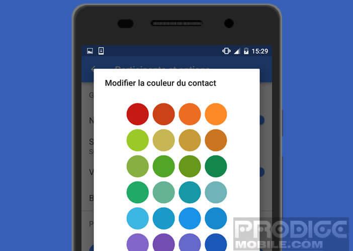 Palette de couleurs pour l'application SMS
