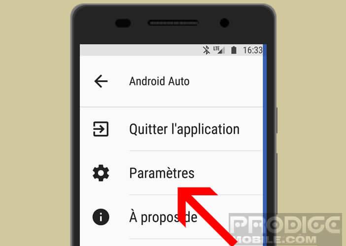 Accéder aux paramètres d'Android Auto