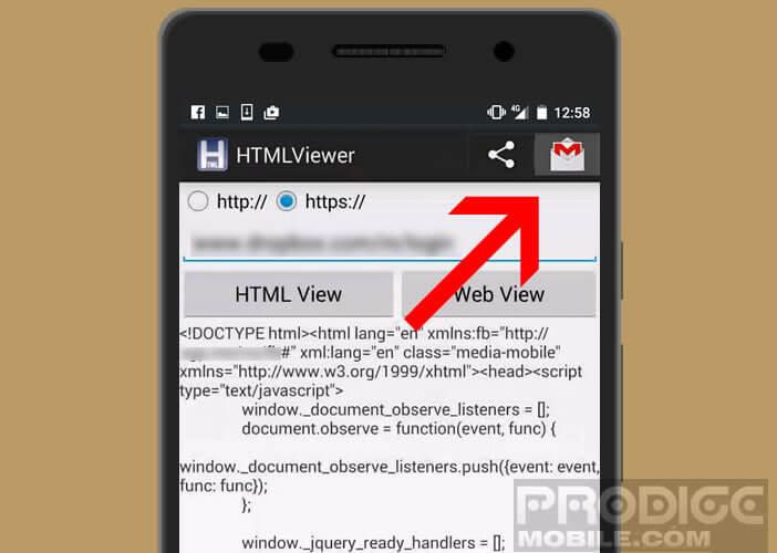 Partager le code source récupérer depuis l'application HTML Viewer