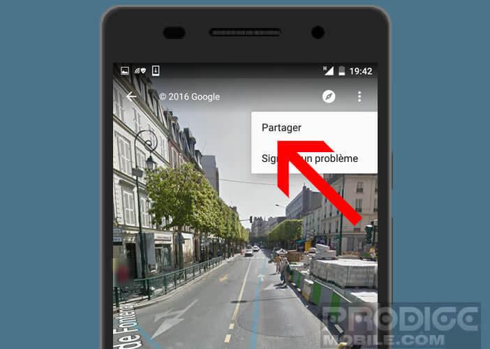 Partager par mail et sur les réseaux sociaux une image de Google Maps