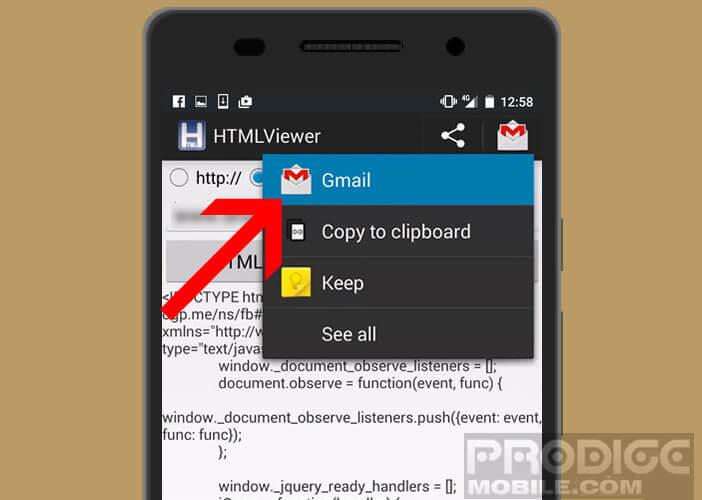 Envoyer par mail le code HTML d'une page web adaptée aux mobiles Android