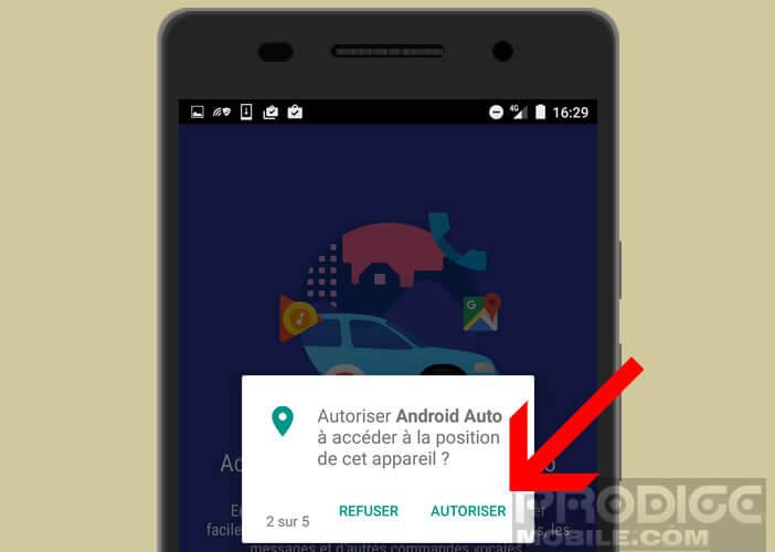 Définir les permissions pour Android Auto
