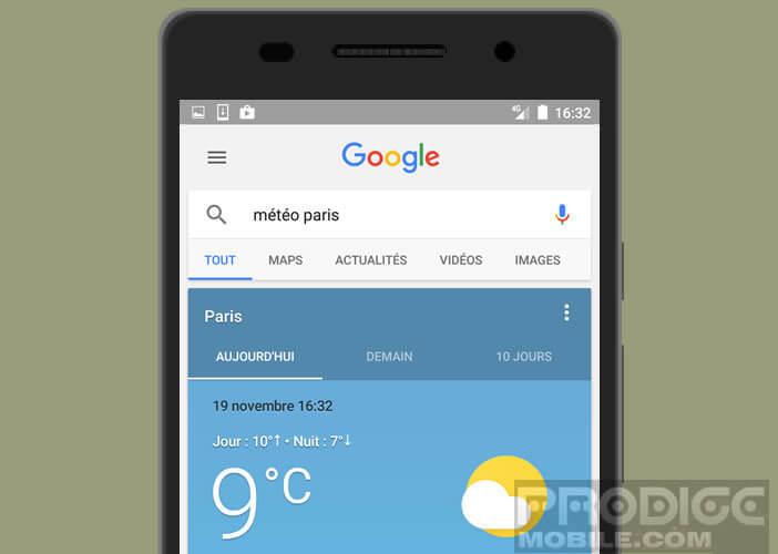 Les prévisions météorologiques de votre ville sur votre smartphone Android