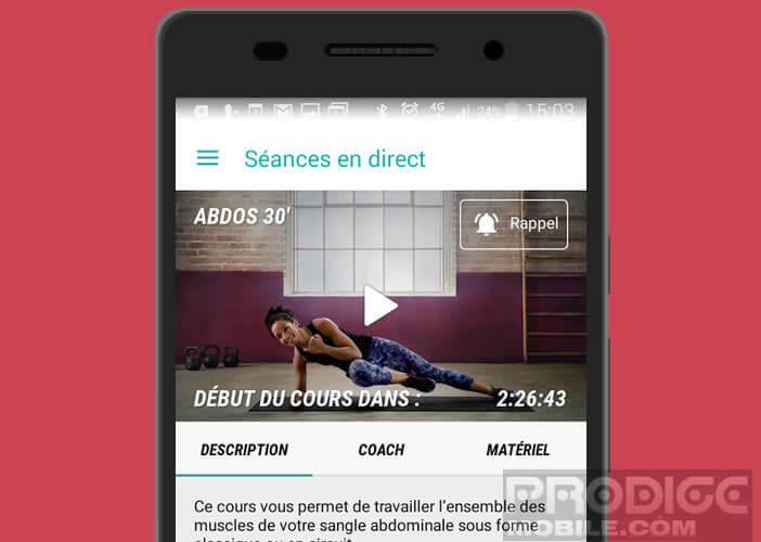 Suivre en direct sur son smartphone des séances de fitness