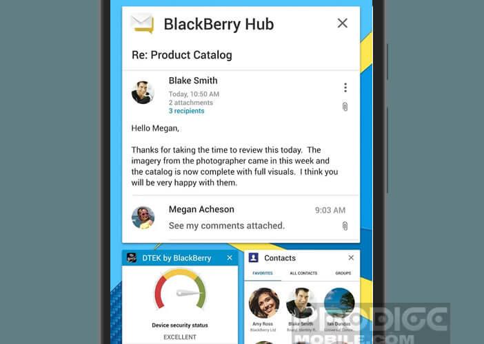 Consulter le tableau de bord du Blackberry Hub