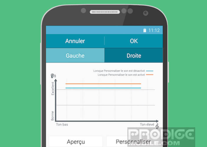 Audiogramme de l'equalizer Adapt Sound de Samsung