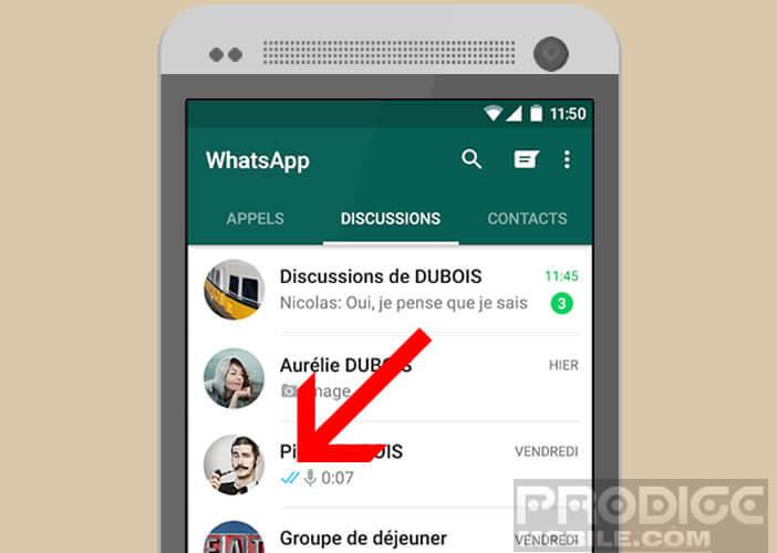 Coche bleu pour prévenir que votre message WhatsApp a été lu