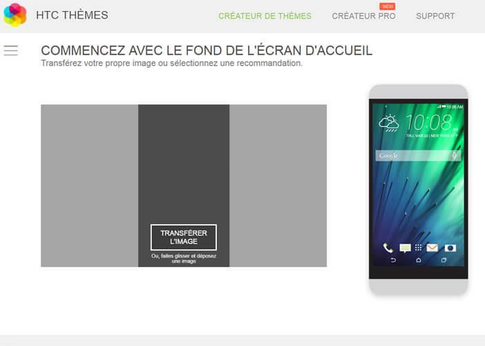 Sélectionnez le fond d'écran de votre choix dans HTC Thèmes
