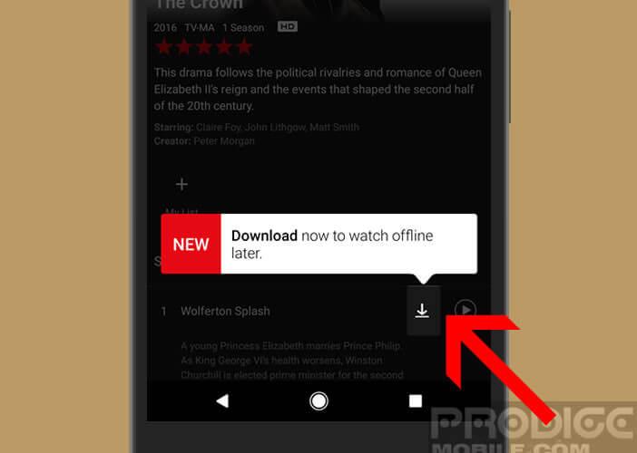 Icône pour savoir si la vidéo est concerné par la fonction de téléchargement