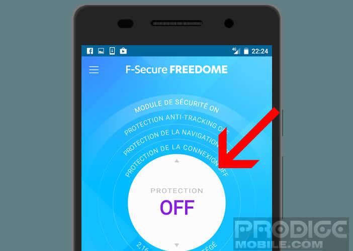 Lancer la connexion VPN Freedome