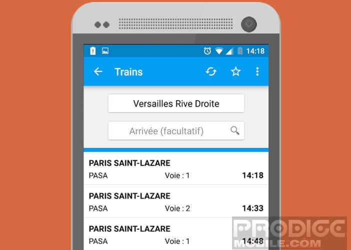 Les lignes Transilien sur son mobile Android