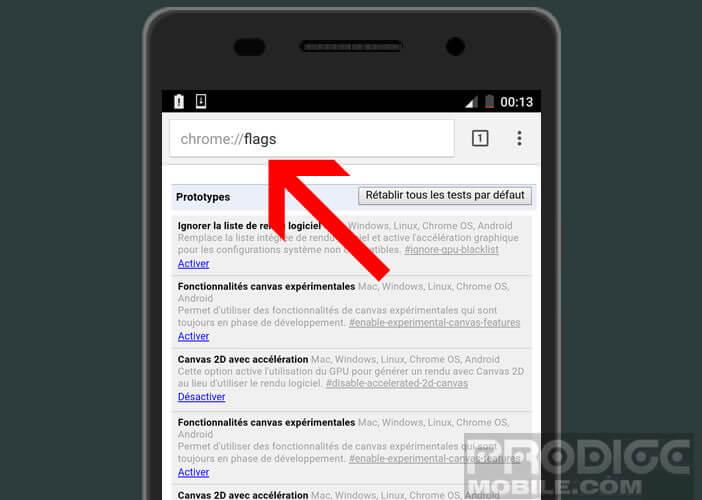 Activer les options cachées sur Google Chrome pour Android