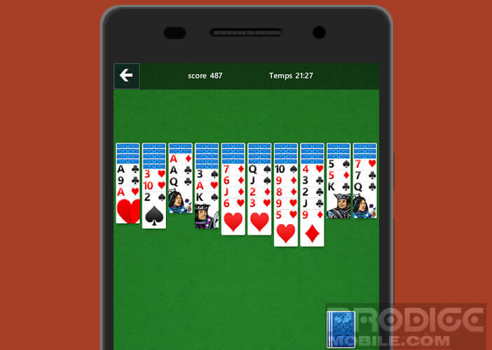 Jeu de carte solitaire pour les mobiles Android