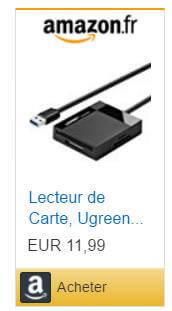Lecteur de carte mémoire externe USB pour PC ou Mac