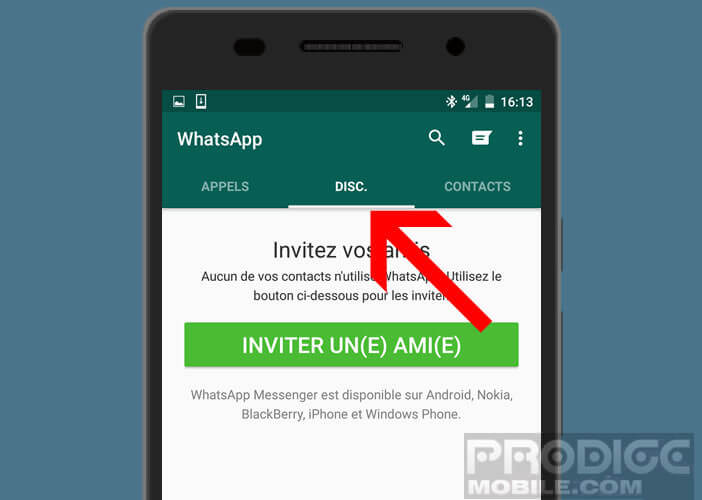 Cliquer sur l'onglet discussions dans votre appli de messagerie mobile