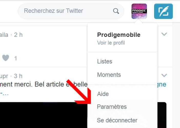 Modifier les paramètres de votre compte Twitter