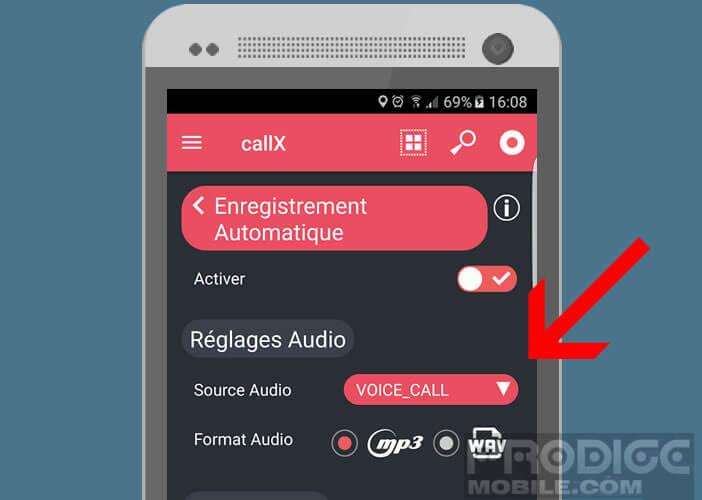 Définir voice call comme source audio