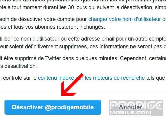 Cliquez sur le bouton pour supprimer toutes vos données personnelles de Twitter