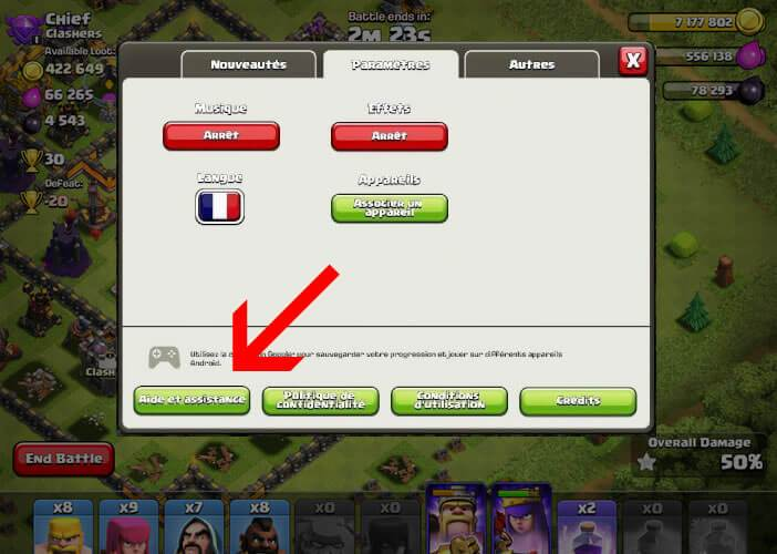 Retrouver un village perdu dans Clash of Clans via le support technique