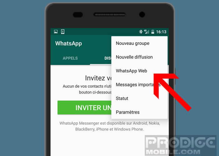 Activer l'option WhatsApp Web sur votre smartphone Android
