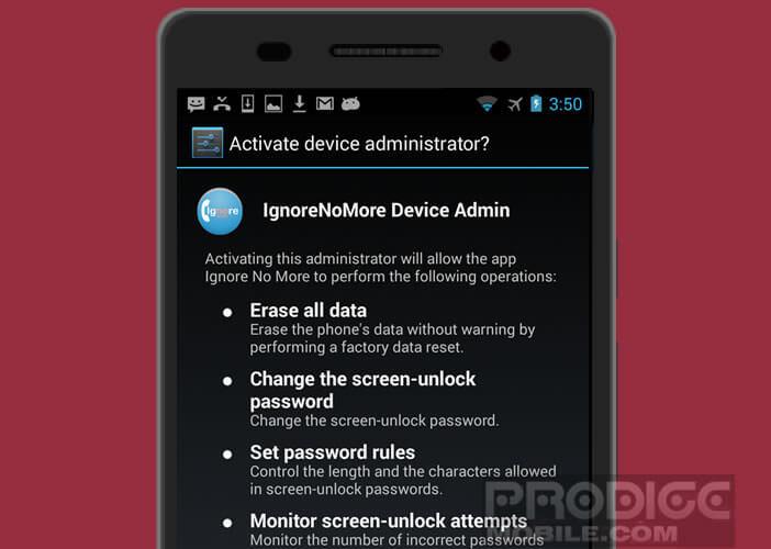Autoriser Ignore No More à bloquer le smartphone de votre adolescent