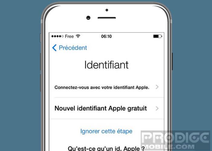 Entrer ou créer un identifiant Apple pour configurer votre machine