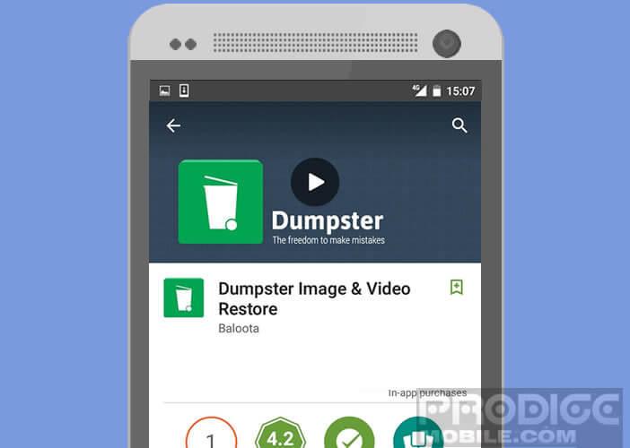 Créer une corbeille sur Android avec l'application Dumpster