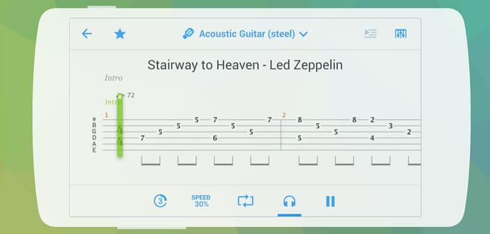 Songsterr lecteur de tablatures guitare pour mobile Android