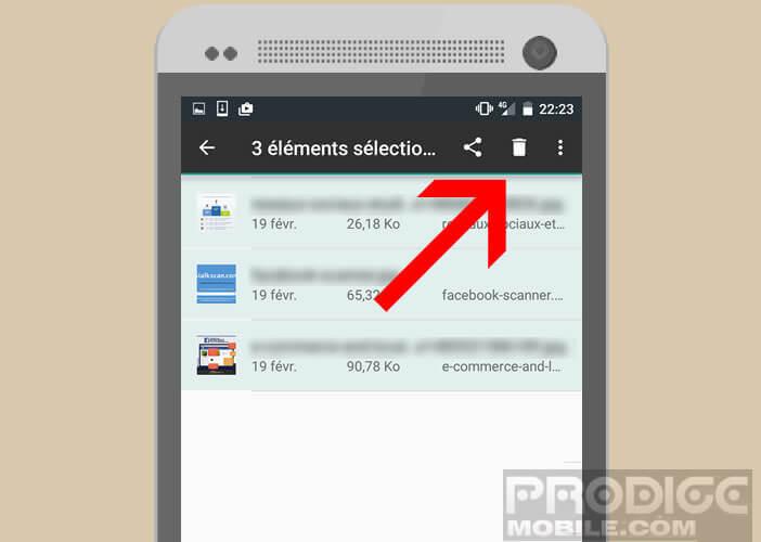 Supprimer les fichiers sélectionnés de la liste des téléchargements