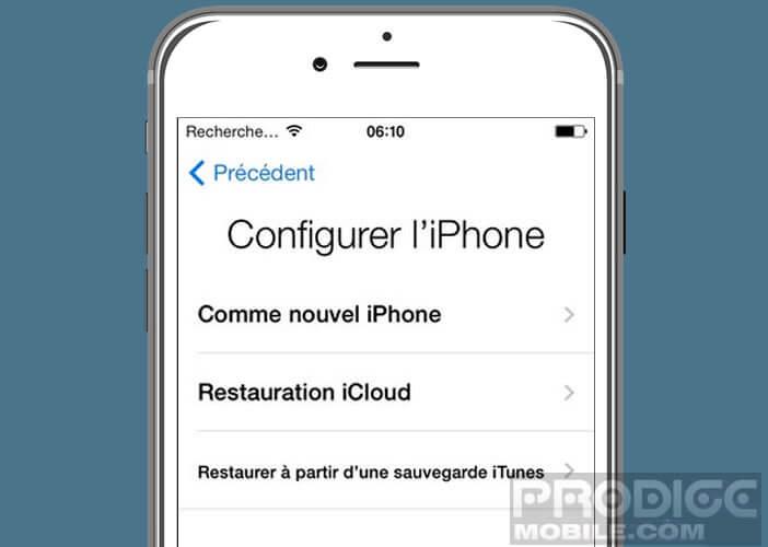 Sélectionnez le type de configuration de mobile Apple