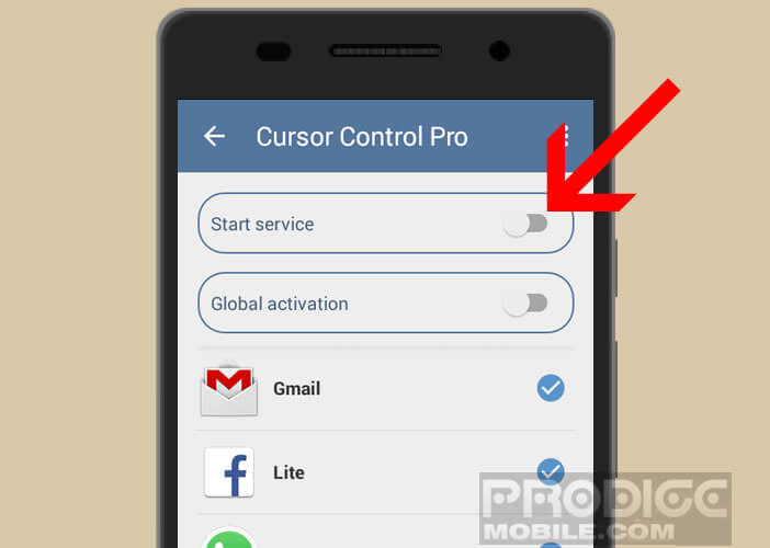 Activer l'application Cursor Control