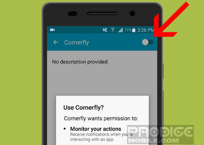 Activer les permissions d'options d'accessibilité pour Cornerfly