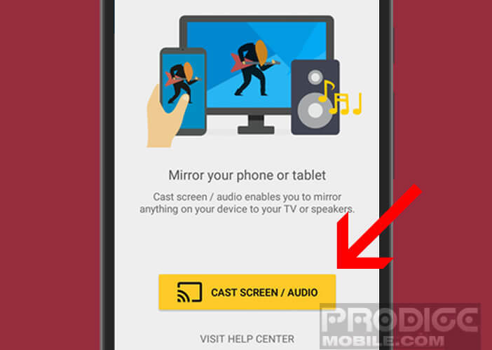 Activer la fonction de screen mirroring sur l'application Chromecast
