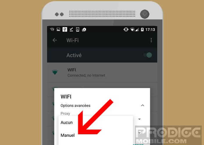 Lancer la configuration manuel du proxy sur Android