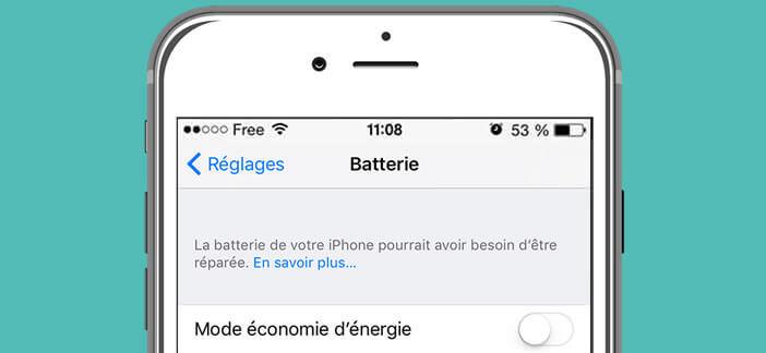 Message d'alerte vous indiquant que la batterie de votre iPhone arrive en fin de vie