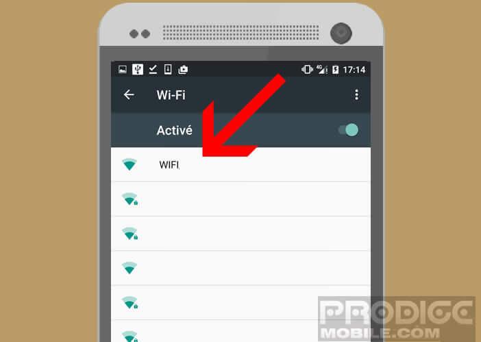Sélectionnez sur votre mobile un réseau wifi sans fil