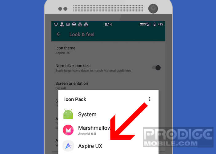 Activer l'application Aspire Ux via le launcher Nova