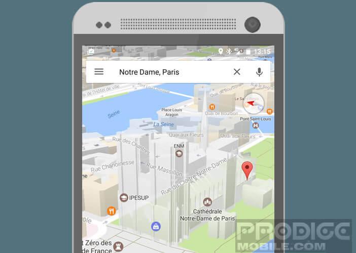 Activer l'affichage en relief des villes sur Maps