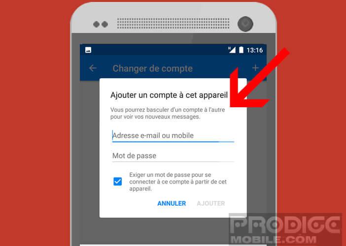 Ajouter un compte à votre application Messenger